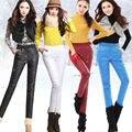 Novo 2016 Calças de Inverno Calças de Cintura Alta Mulheres Desgaste Exterior moda Slim Calças de Veludo Quente Grossa Para Baixo Elástica Plus Size calças