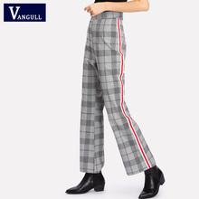 Vangull Plaid Pants 2018 New High Waist Long Straight Trousers Woman Clothes Women Elegant Office Ladies