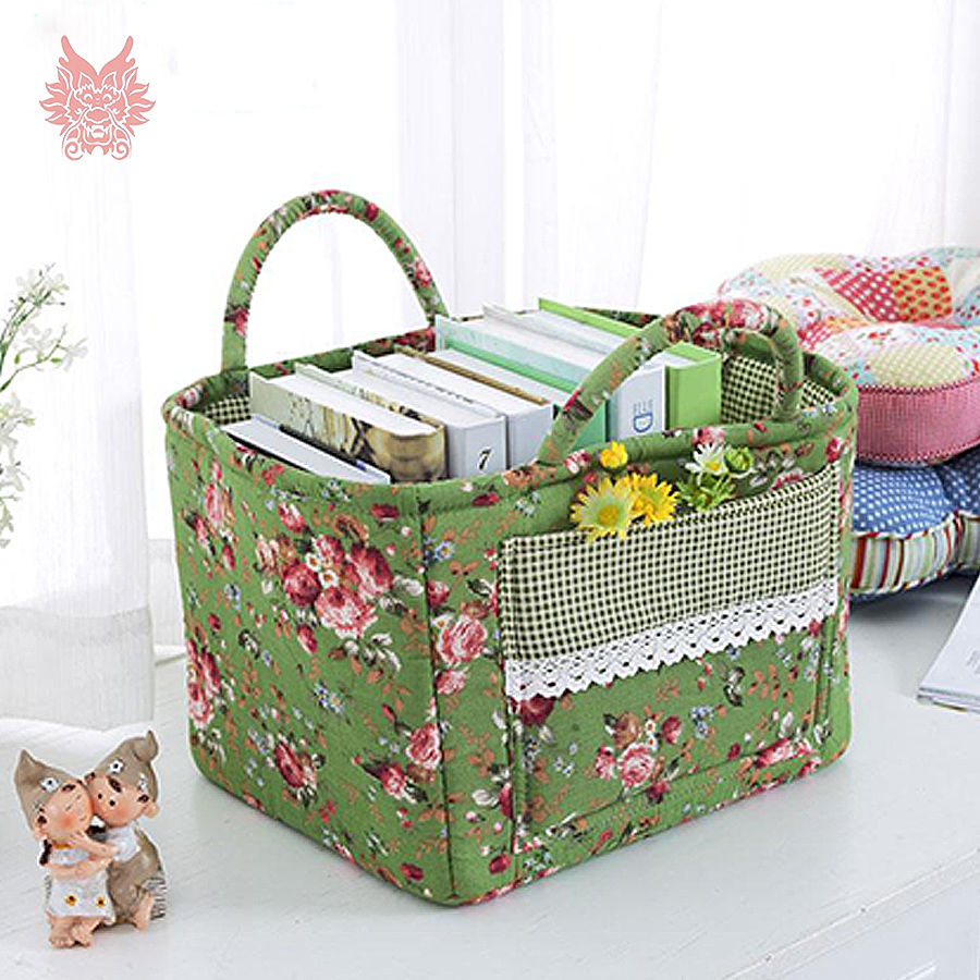 100cotton Floral Print Storage Basket With Lace Patchwork Small Fiber To The Home Nordins Bits N Pieces Objects Debris Bucket 312525cm Diy Crafts Free Ship Sp3417