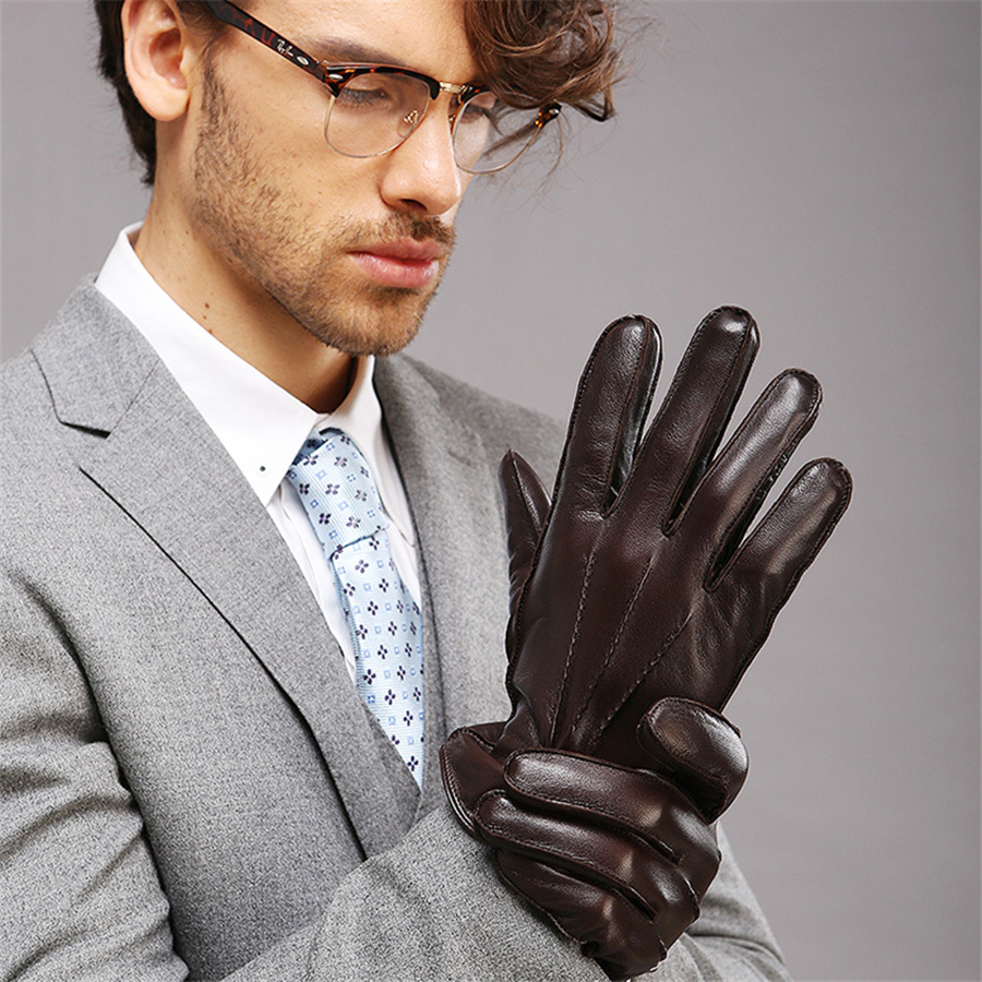 New Arrival 2018 Goatskin Men Gloves Warmth Winter Genuine Leather Glove Fashion Wrist Thicken Griving Solid Real M014WC in Men 39 s Gloves from Apparel Accessories