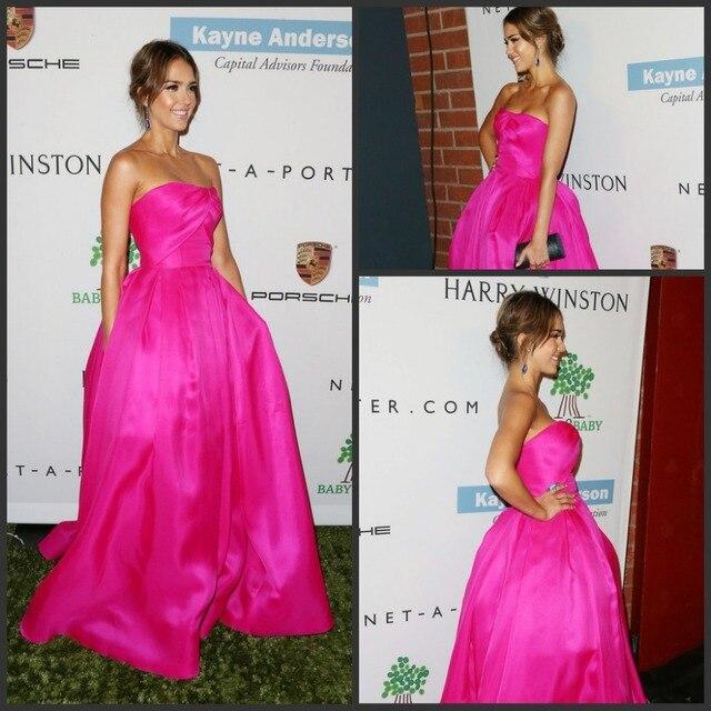 Вечернее платье совок шеи без рукавов бальное платье с длинным джессика альба ярко розовый знаменитости платье
