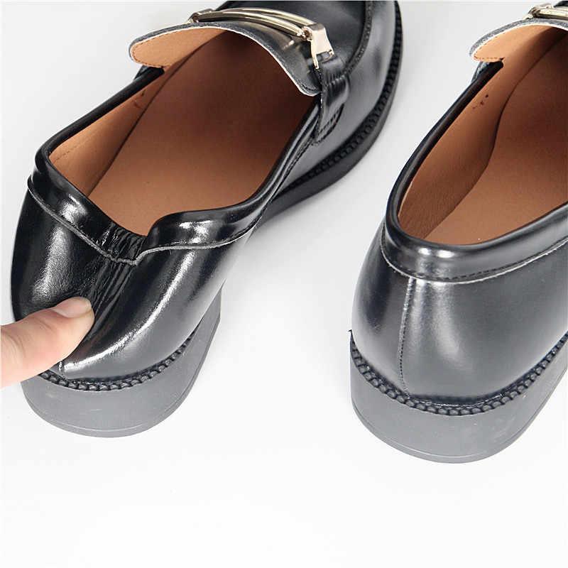 Britse Lederen Oxford Schoenen Vrouw Straat Alle Match Brogues Metalen Decoratie Mocassins Zacht Leer Derby Schoenen Flats