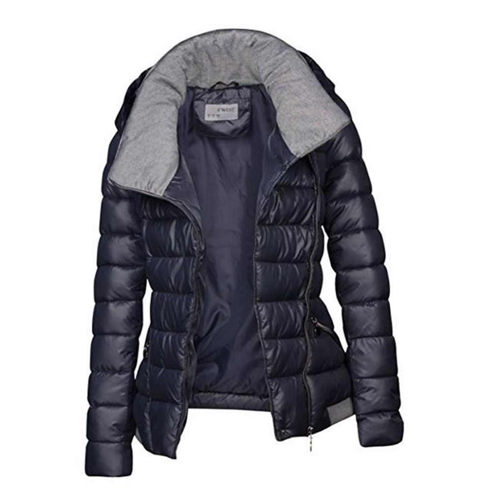a6969937ab2 ... 2019 зимние пальто женские парки хлопок теплая Толстая короткая куртка  пальто с поясом тонкая Повседневная молния ...