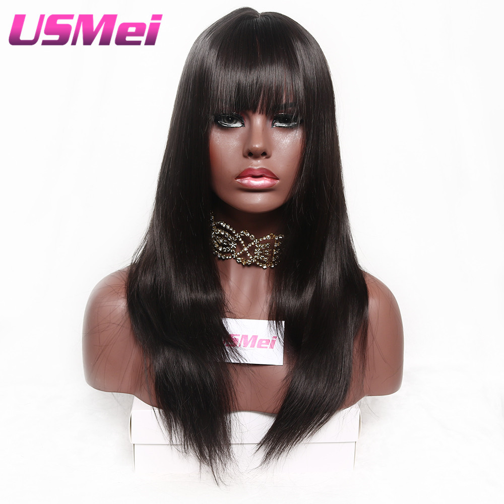 USMEI Dark brown straight synthetic Full Female Wig 24 inches