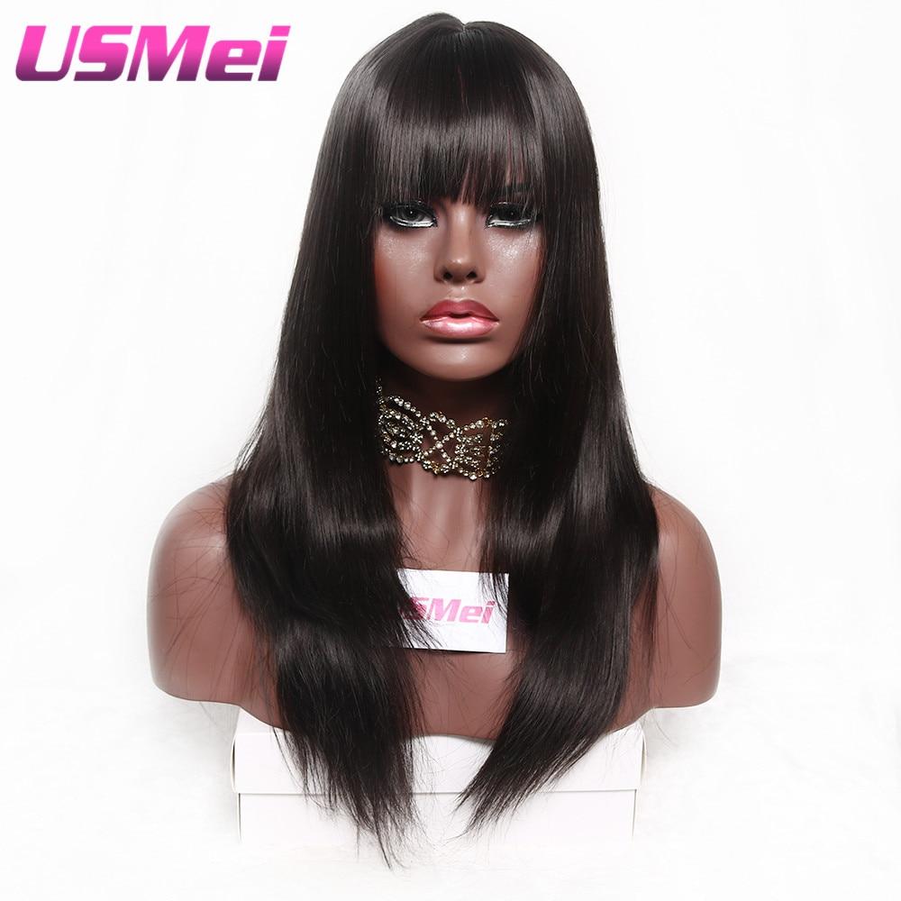 USMEI Mörkbrun rak syntetisk Kvinna Paryk 24 tum Inga Pärlparykar - Syntetiskt hår