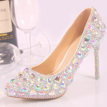 High Quality Crystal Shoes Pointed Toe Wedding Party Bride Shoes Women High Heel Shoes Plus Size Banquet Cinderella Prom Pumps