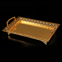 Elegant Rectangle Shaped Gold/Silver Plating Hollow Framed Footed Metal Alloy Tray with Beaded Handle