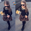 New fashion clothing sets for girls leopard print baby clothes girls boutique outfits 2 piece girls set conjunto infantil menina