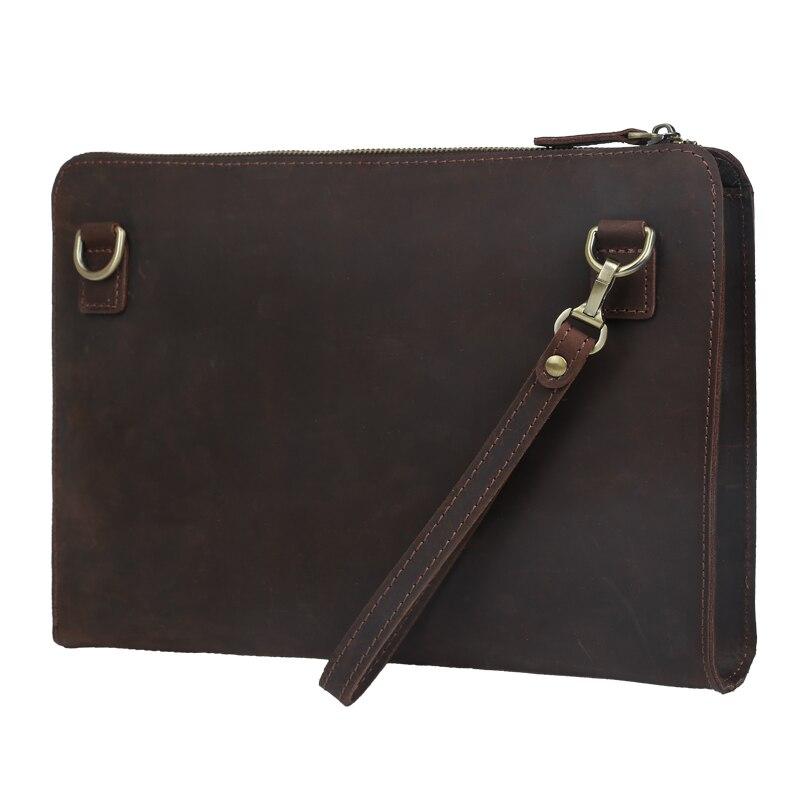 2017 Handmade Men s genuine font b Leather b font message bags Clutch Envelope Bag Purse