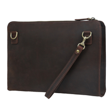 2017 Handmade Men's genuine Leather message bags Clutch Envelope Bag Purse Handbag Dark Brown Shoulder bag unique design 4092