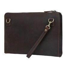 Handmade Men s Genuine Leather Message Bags Clutch Envelope Bag Purse Handbag Dark Brown Shoulder Bag