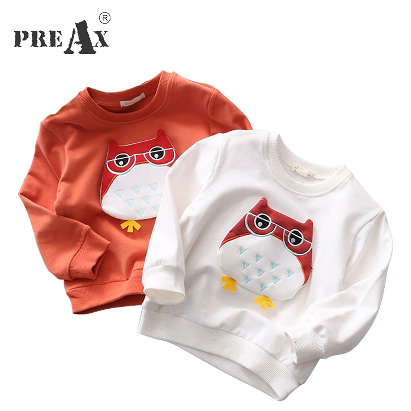 New Fashion 2018 Baby Boy Clothes Cute Animal Owl Patchwork Baby Girl Clothes Children Tops Cartoon Boys Hoodies Sweatshirts
