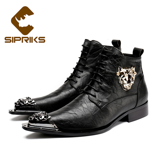 Sipriks Mens Leather Ankle Boots With Tiger Pointed Toe With Metal