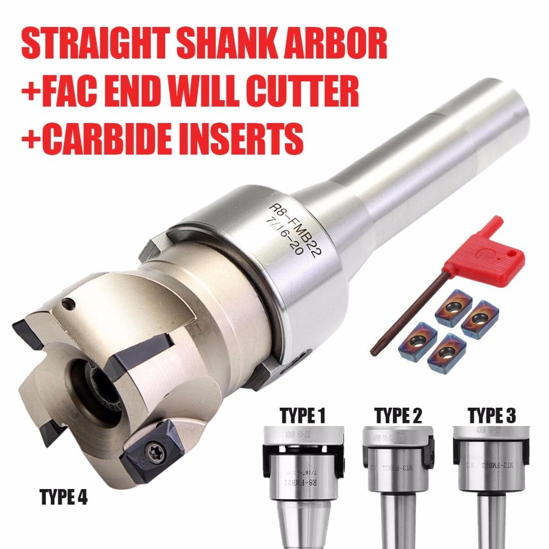MT3 FMB22 Shank 400R 50mm Face Milling CNC Cutter 4x APMT1604 Carbide Inserts