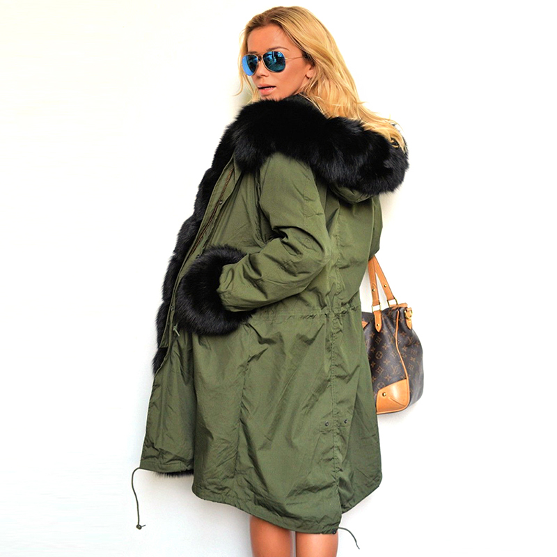 3XL Women Long Coat Parka Winter Big Faux Green Army Jacket Fur Collar Removable Thick Warm