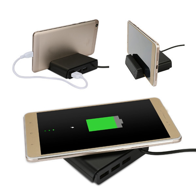 3 in 1 5V 2.1A 3 USB Ports QI Wireless Phone Charger Multifunction Mobile Charger Desktop Phone Stand Holder Universal Charging