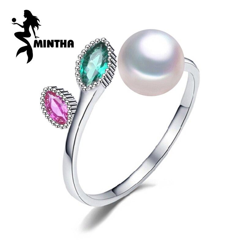 MINTHA Pearl wedding ruby font b rings b font pearl jewelry 925 sterling silver font b