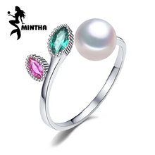 MINTHA Pearl wedding ruby rings,pearl jewelry 925 sterling silver Black White freshwater emerald Ring for Women Gift,jewelry box