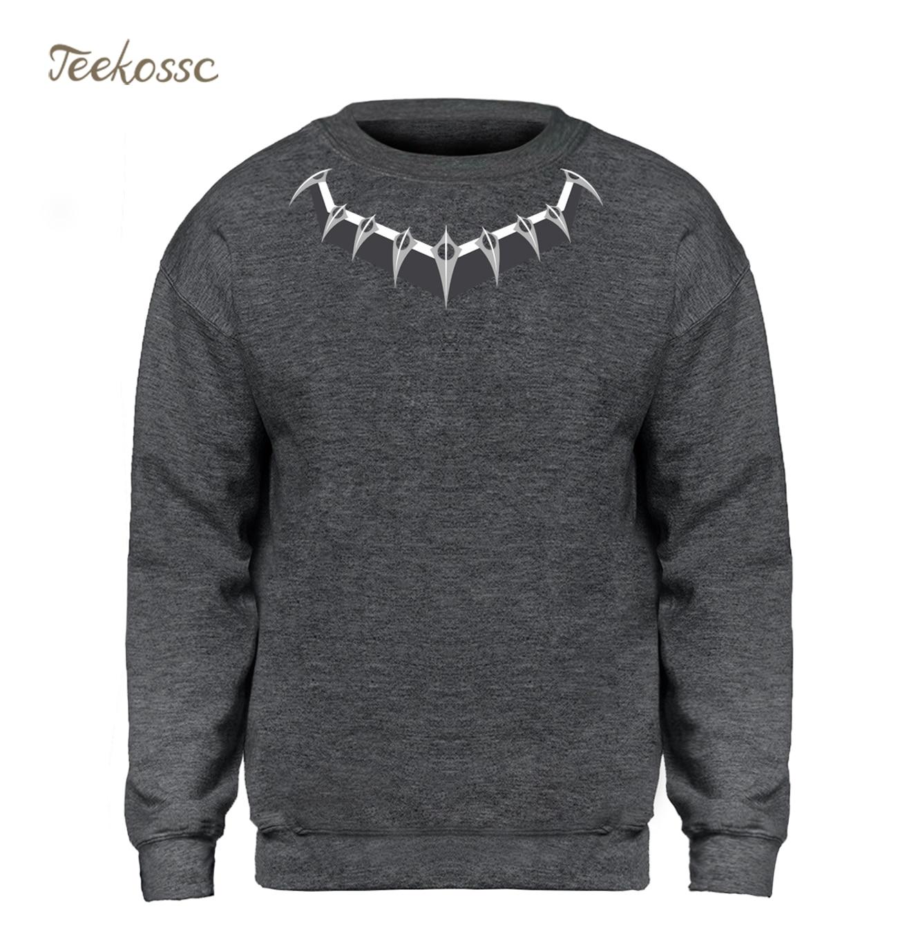 Black Panther Killmonger Hoodie Men Necklace Logo Sweatshirt Movie Crewneck Sweatshirts 2018 New Brand Fleece Hip Hop Sportswear