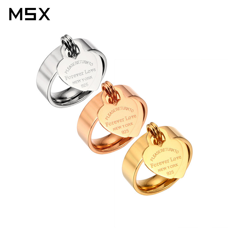 Rose Gold Plating Girl Women Ring Pendant Stainless Steel Charm Cincin Jari Sweet Heart Trendy Jewelry Gift Female Multi-size