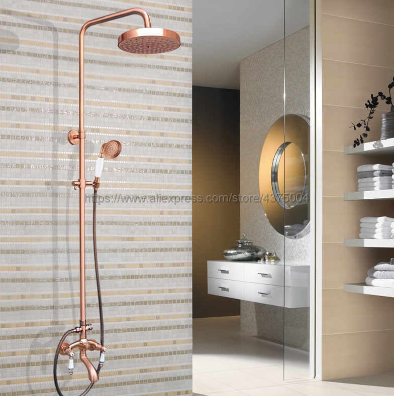 Antique Red Copper Shower Faucets Bathroom Shower Mixer Taps Wall Mount Tub Shower Faucet with Handshower Nrg535