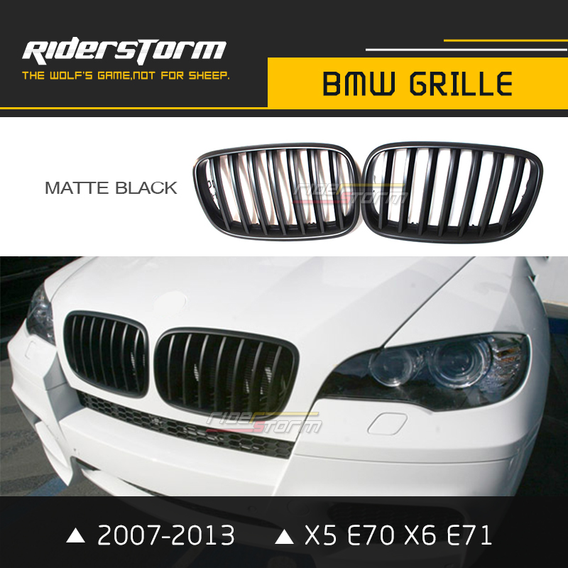 Replacement Auto X5 Grill for BMW E70 E71 X6 Grille Front Mesh Kidney Grill 2007-2013 Carbon ABS Glossy Matte Black Tri Color 1pair matte black double slat kidney grille front grill for bmw e70 e71 model x5 x6 suv m sport xdrive 2008 2012 car styling