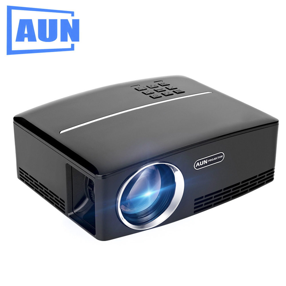 AUN Projector AUN1 1800 Lumens LED Projector Set in HDMI,VGA,USB Port. 28 Pcs LED Beads HD Projector aun projector e07 for home theatre education of children 640 480 pixels led projector set in hdmi vga usd prot 1080p led tv