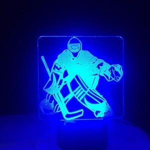 Image 5 - Eis Hockey Goalie 3D Modellierung Tisch Lampe 7 Farben Ändern LED Nachtlicht USB Schlafzimmer Schlaf Beleuchtung Sport Fans Geschenke Hause decor