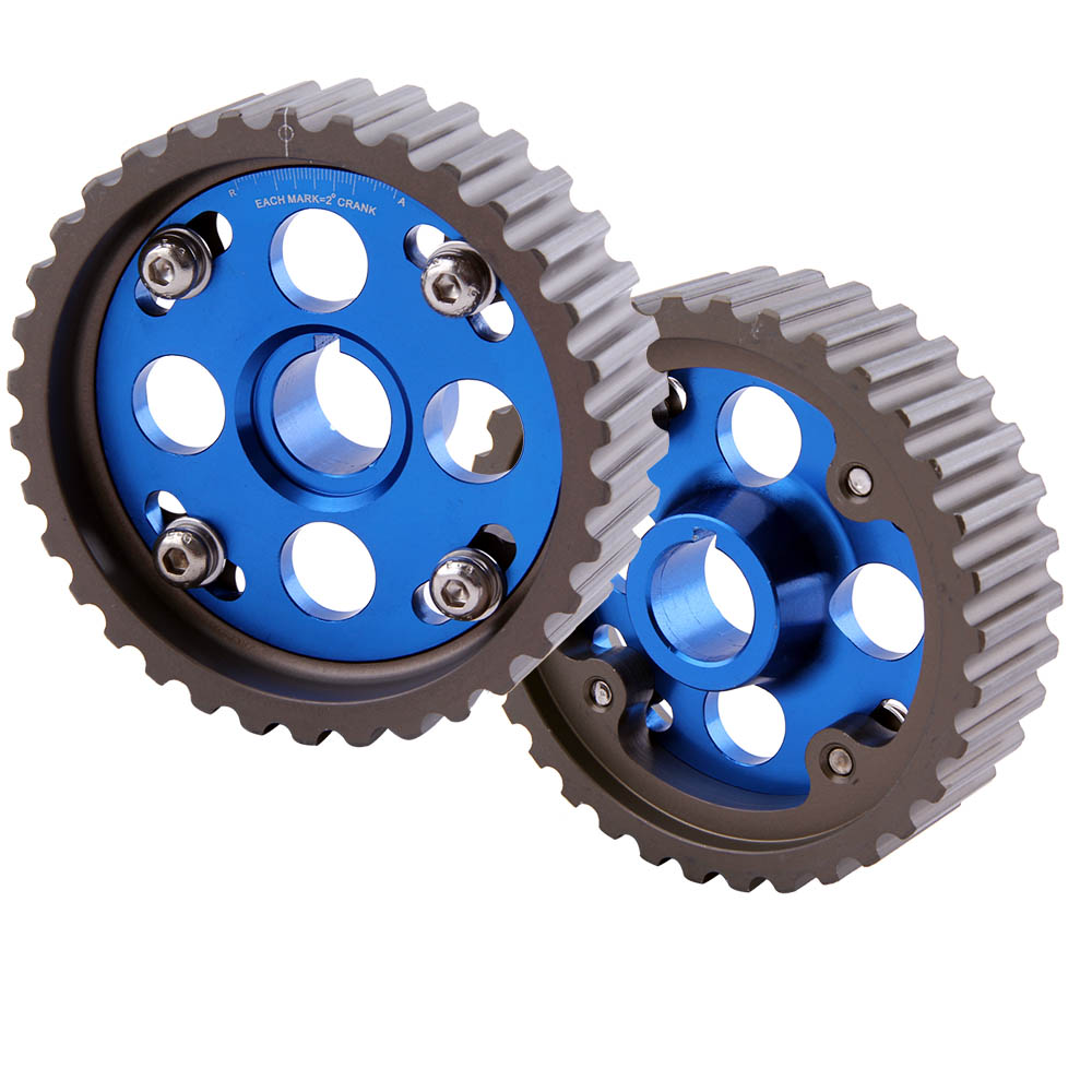 For <font><b>Honda</b></font> Integra <font><b>Civic</b></font> CR-X B16 <font><b>B16A</b></font> Camshaft Adjustable Cam Gear Pulley 1 Pair Stainless Steel Studs Blue or Red color image