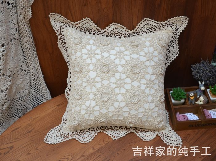 Envío libre 50x50 cm 100% algodón natural almohada ganchillo funda ...