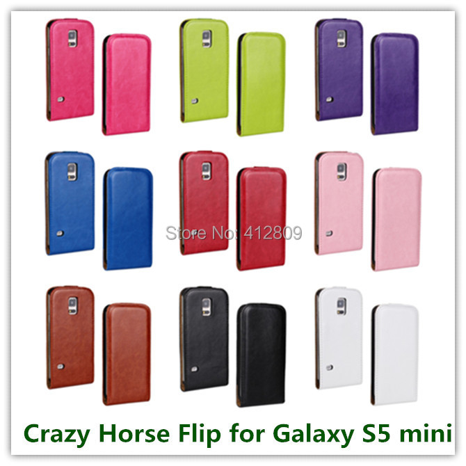 1PCS Luxury Black Pull Up Crazy Horse Pattern PU Leather Flip Cover Case for Samsung Galaxy S5 Mini <font><b>G870</b></font> 4.5