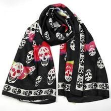 лучшая цена Silk Scarf Wrap Printing Skull Scarves Foulard Shawl Hijab Luxury Brand Bufandas Cape Head Scarves Oversize Beach Towel Hallowee