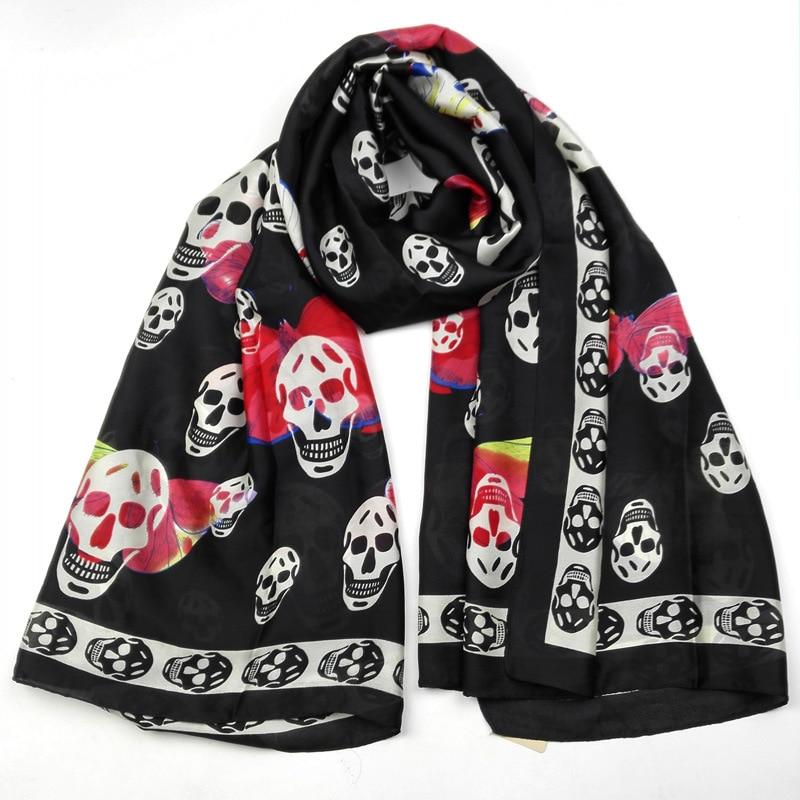 Silk   Scarf     Wrap   Printing Skull   Scarves   Foulard Shawl Hijab Luxury Brand Bufandas Cape Head   Scarves   Oversize Beach Towel Hallowee