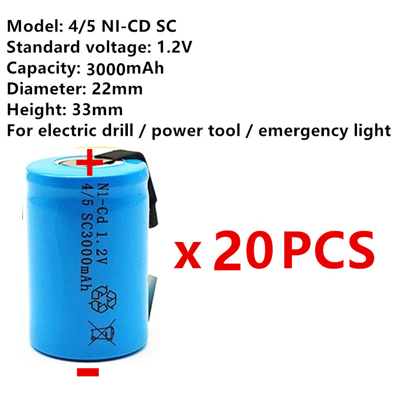 20pcs High quality battery rechargeable battery sub c battery 4/5SC battery replacement <font><b>1.2</b></font> <font><b>v</b></font> with tab 3000 mah image