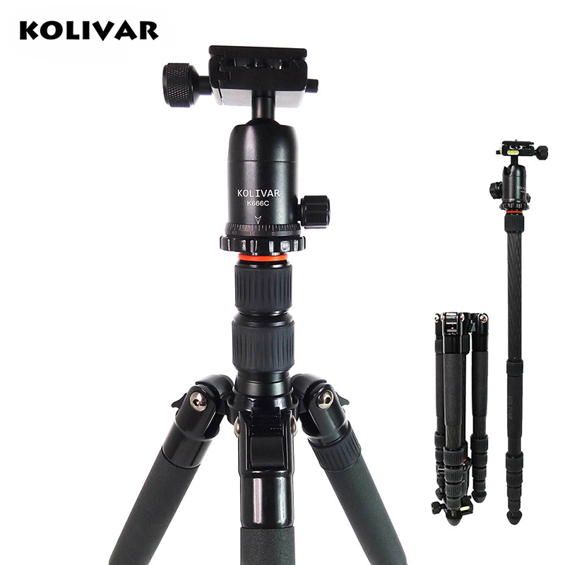 KOLIVAR K666C Professional Compact Travel Carbon Fiber Camera Tripod With Ball Head For DSLR SLR Camera Stand Better than Q666C sirui a 1205 a1205 tripod professional carbon fiber flexible monopod for camera with y11 ball head 5 section free shipping