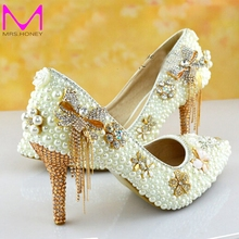 Beautiful Ivory Pearl Wedding Shoes High Heel Bridal Shoes Pointed Toe Bridesmaid Dress Shoes Women Gorgeous Shoes Pumps