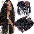 Kinky Curly 3 Bundles cabelo com laço encerramento 8A baratos extensão do cabelo humano brasileiro cabelo virgem não processado tece com fecho