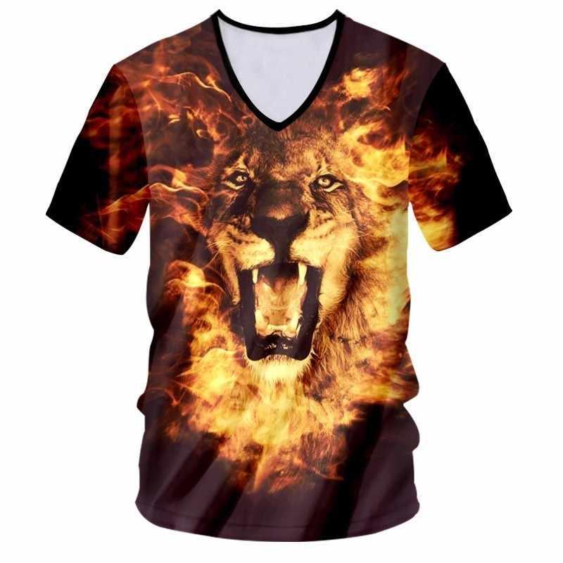 OGKB V-ausschnitt T-shirt Frauen/männer Coole Druck Flamme Lion King 3D T-shirt Tier T Shirts Unisex Slim Fit Kurze hülsen-beiläufige T-stücke 7XL