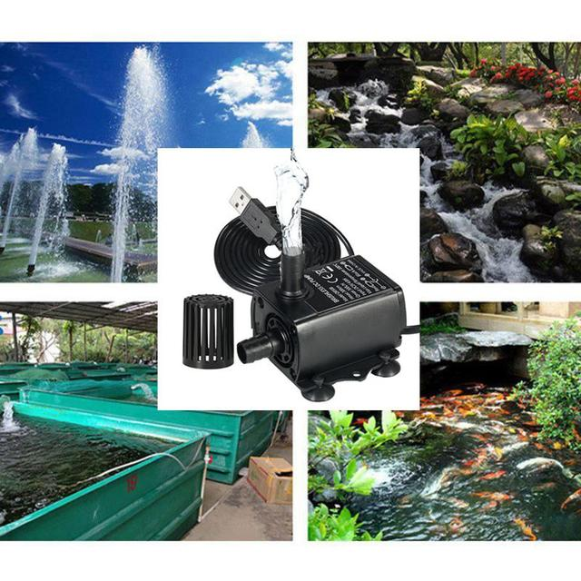 Outdoor Fountain Water USB Pump with LED Light Submersible Pump for Aquarium Fish Tank Pond Hydroponics