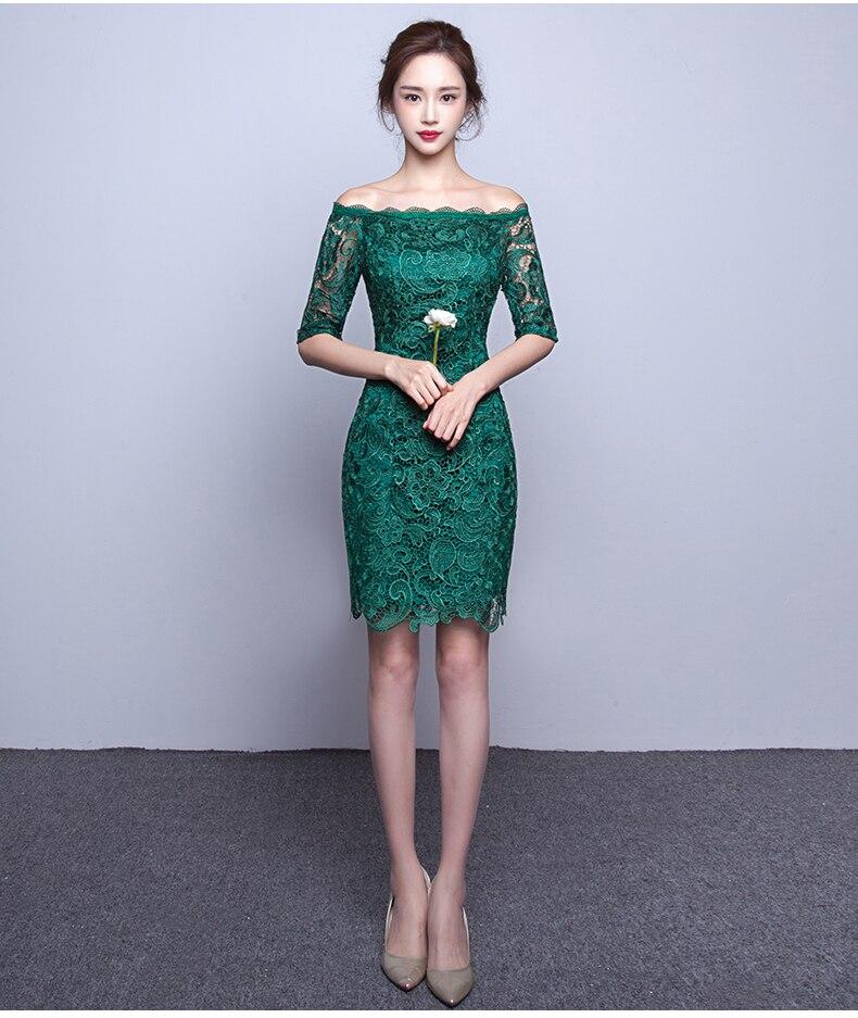 Vestidos de encaje verde jade
