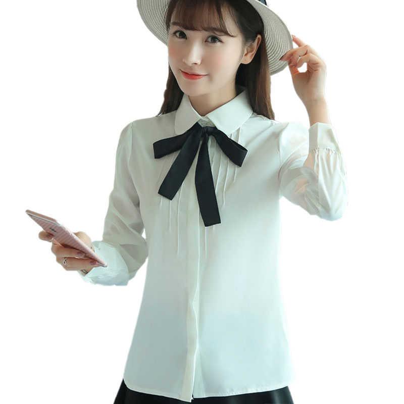 Formale Office Shirt Female Bows Peter Pan Collar Long Sleeve White Shirts Women 2016 Autumn Cotton