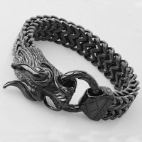 17mm Hot Sale Stainless Steel Hot Color Black 3D Dragon Head Figaro Link Chain Men's Boy's Casting Bracelets Jewelry Xmas Gift
