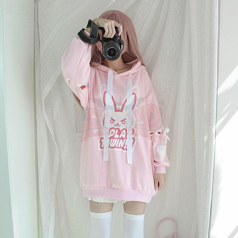 Hot game heros Dva Cosplay adult costume pink coat d.va coat hoodies long coat top