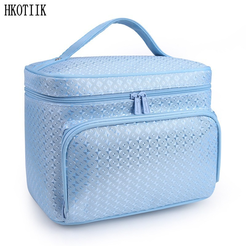 Fashion diamond lattice big cosmetic bag