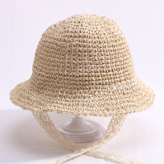 8903711e16a Children Lace Strap Crochet Straw Hats Baby Boy Girl Handmade Summer  Foldable Sun Cap Outdoor Holiday Beach Sun Protection Hat