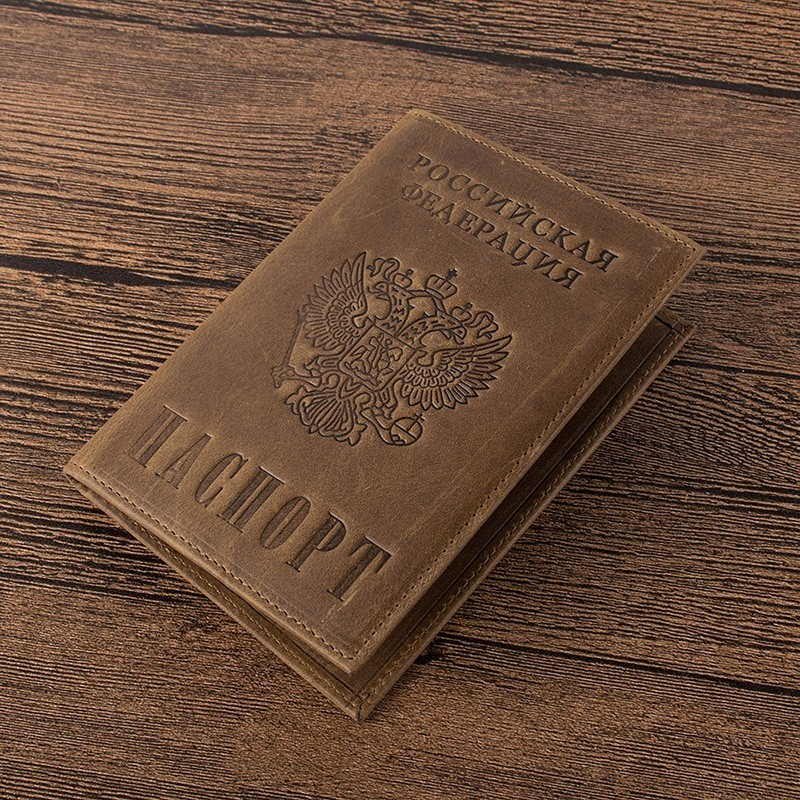 Women Genuine Leather Passport Cover Russian Emblem Logo Credit Card Holder Travel Document Cover Passport Holders B598-48