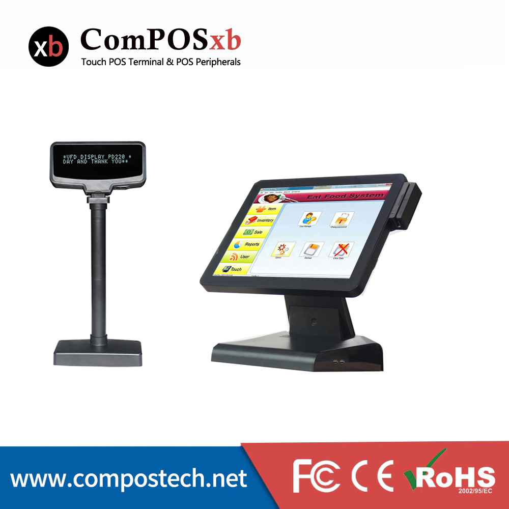 15 inch TFT LED Retail POS Point Of Sale All In One Flat panel touch screen with VFD customer display 15 inch tft lcd touch screen monitor core i3 touch screen pos all in one restaurant epos system with msr customer display