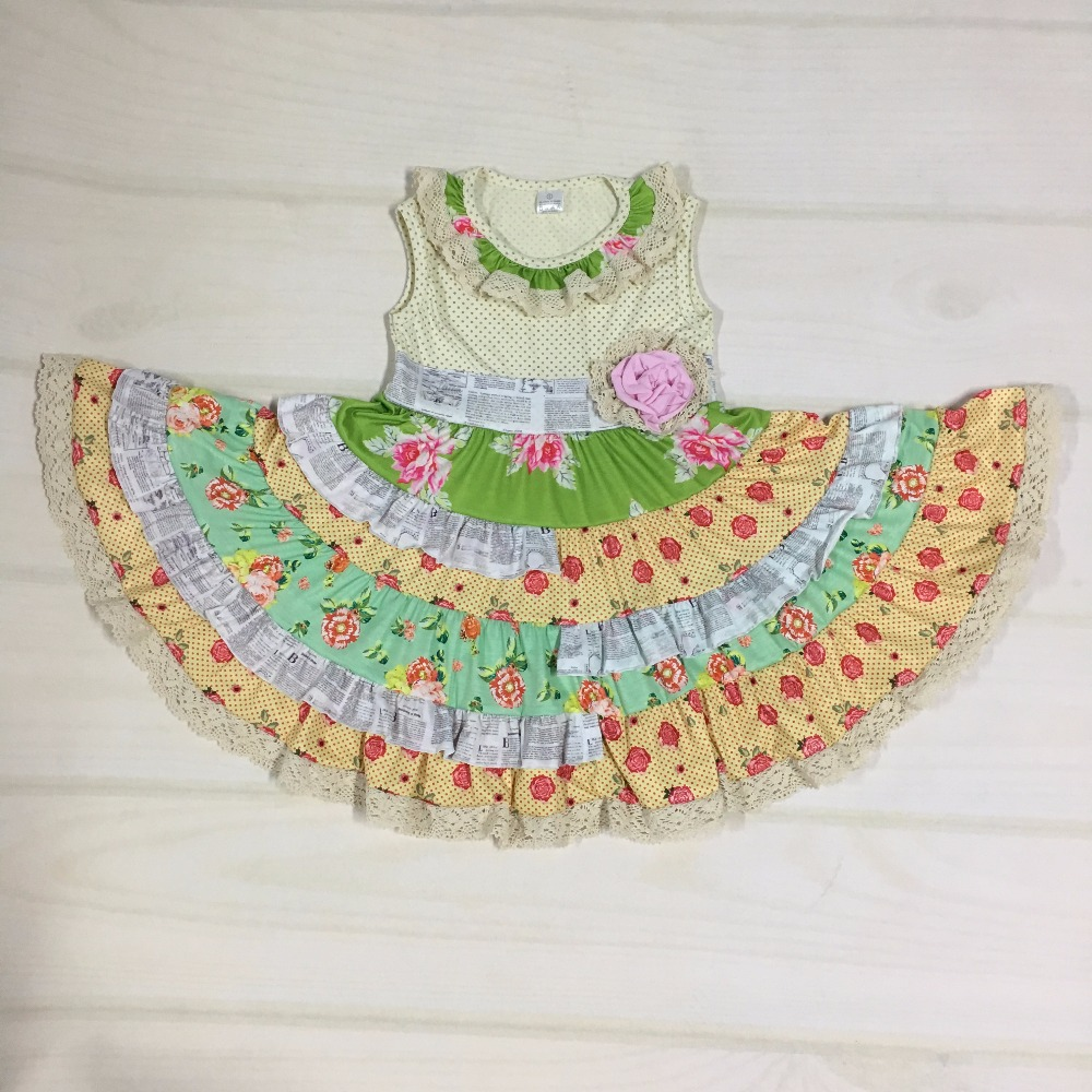 Boutique cute girls sleeveless summer dress floral for Childrens dress fabric