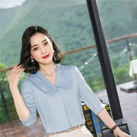Half Sleeve Formal OL Styles Women Blouses and Shirts Fashion Casual Chiffon Blouse Women Business Work Wear Ladies Tops Clothes