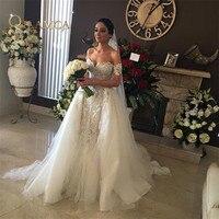 Высокое качество ручной вышивкой бисером кружево Аппликация свадебное платье с открытыми плечами Съемная юбка русалка свадебное